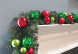 Christmas Garland Decorated Red & Green ball & ornaments 6'