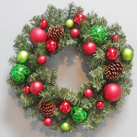 Christmas Wreath Decorated Red And Green ball & ornaments 24""