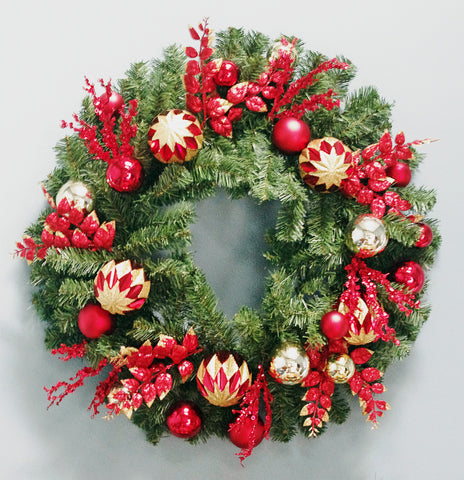 Christmas Wreath Decorated with glitter balls & ornaments Red And Gold