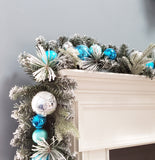 Christmas Garland Snowy Flocked Decorated with glitter balls & ornaments Blue And Silver 6'