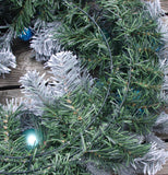 Christmas Wreath Flocked Decorated glitter Ball & Ornaments Blue And Silver 24""