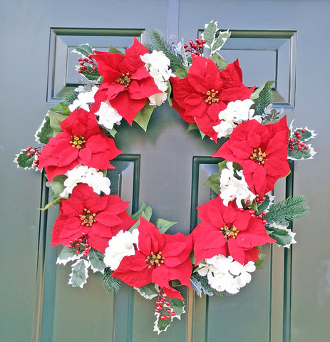 "Christmas Poinsettia Hydrangea 24"" Wreath"
