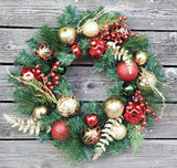 Christmas Decorated Berry Ornaments Plastic Wreath