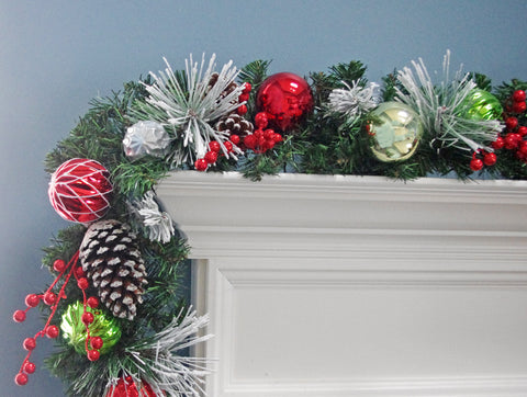 6' Christmas Flocked Decorated Berry Pinecone Garland