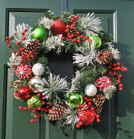 "Christmas Flocked Decorated Berry Ornaments Pinecone 24"" Wreath"