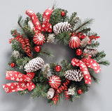 "ChristmasFlocked Decorated Pinecone Bow Ornaments 24"" Plastic Wreath"