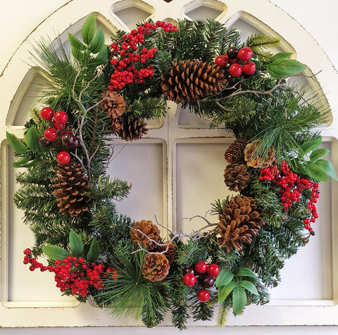 "Christmas Decorated Berry Pinecone Long needle 24"" Wreath"