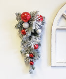 Holiday Trip (Wreath Garland Tear drop) Flocked Decorated glitter Ball & Ornaments Red/white/silver