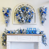 Holiday Trip (Wreath Garland Tear drop) Flocked Decorated glitter Ball & Ornaments Blue And Silver