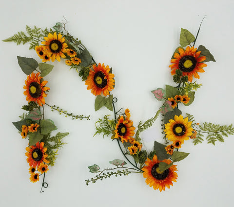 Fall Autumn Harvest Sunflower Hop Garland, 72""
