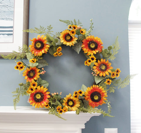 Fall Autumn Harvest Sunflower Hop Wreath, 24""