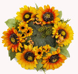 Fall Autumn Harvest Sunflower Candle Ring,12""