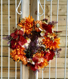 Fall Autumn Harvest Hydrangea Sunflower Wreath Candle Ring,14""