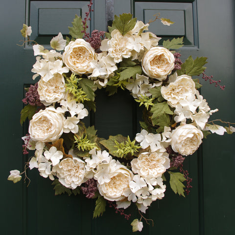 "Fall Autumn Thanksgiving Cabbage Rose Dahlia Hydrangea Berry 22"" Wreath"