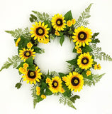 Sunflower wreath mixed with fern & berry, 24""