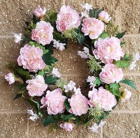 "Peony Wreath Pink , 24"", mixed with fern & berry"