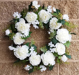 Peony Wreath Cream white mixed with fern & berry , 24""