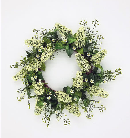 "20"" Lavender Shell Wreath Cream"