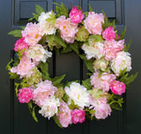 "PEONY DOOR HANGING WREATH, 24"" PINK WHITE"