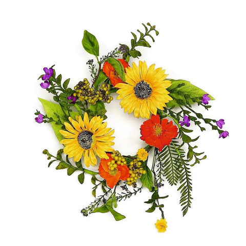 MIXED WILDFLOWER & SUNFLOWER Candle Ring, Small Wreath 12""