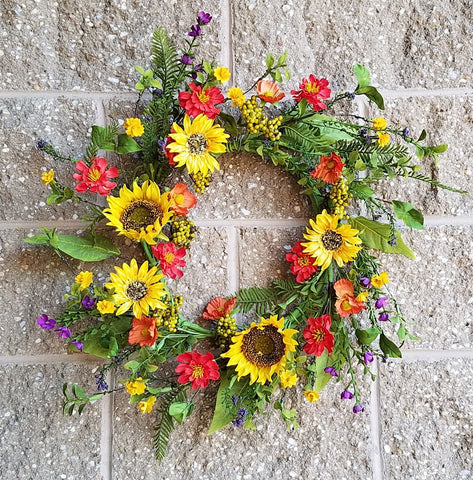 MIXED WILDFLOWER & SUNFLOWER Wreath, 24""