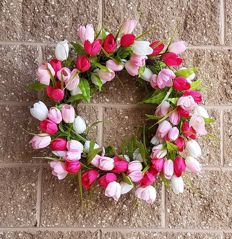 TULIP WREATH, BURGUNDY/PINK/WHITE, 24""