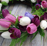 SPRING TULIP DOOR HANGING WREATH,  Purple/Pink/White, 24""