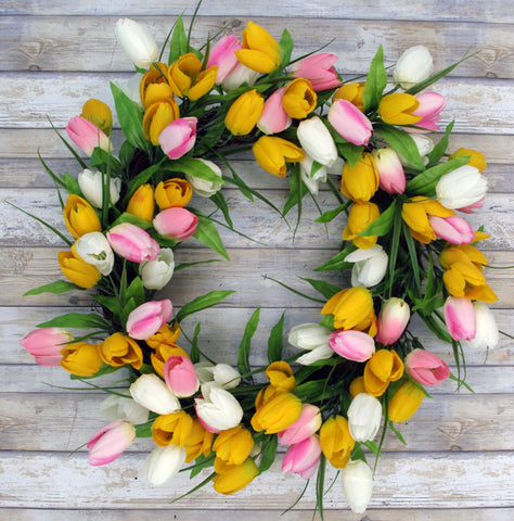 SPRING TULIP DOOR HANGING WREATH,  Yellow/Pink/White, 24""