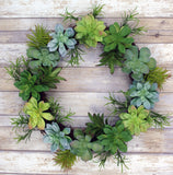 Succulent Hanging Wreath for everyday, greenery , 20""