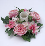 "Spring Cabbage Rose Dahlia Hydrangea Candle Ring 12"" Polyester Wreath"
