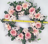 "Pink Cabbage Rose Dahlia Hydrangea Wreath Spring Summer 24"" (24"")"