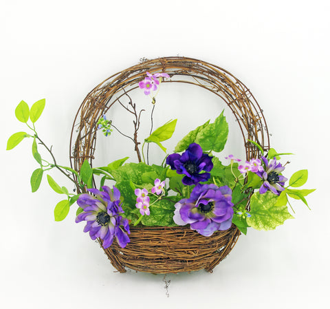 Basket Wreath with Purple Cosmos Flowers,Purple 18""