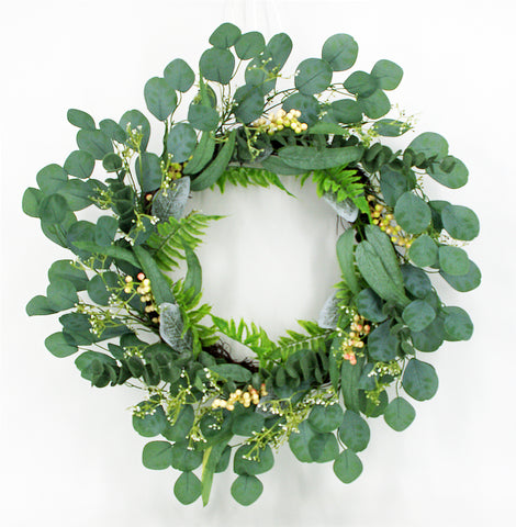 Eucalyptus Mixed Fern & Berry Greenery Wreath All Year Round Floral, 24""