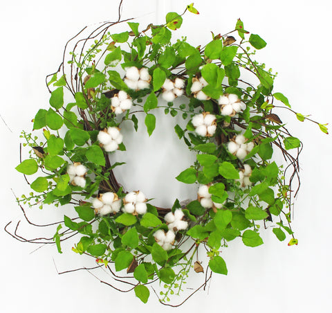 Leaf Mixed Eucalyptus & Cotton Greenery Wreath, 24""