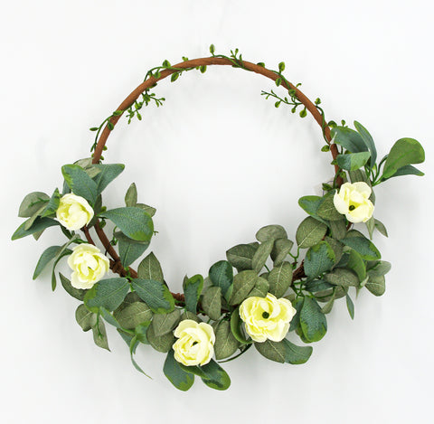 Eucalyptus Mixed White Flower Half Wreath on a Hoop, 16""