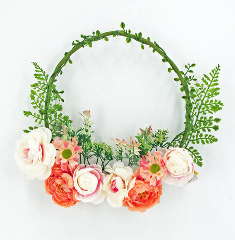 Pink & Cream Peony & Fern Half Wreath on a Hoop, 16""