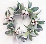 "Handmade  Lambs Ear& Cotton Wreath 12"", 6"" Candle Ring …"