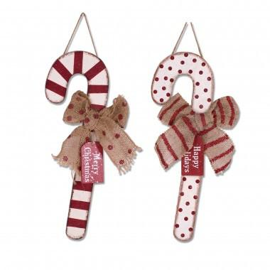 "Christmas Wooden Candy Cane Wall  Decor 16.35""H"