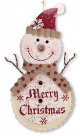 "Christmas Iron Bottle Cap Snowman Wall Decor 23.25""H"