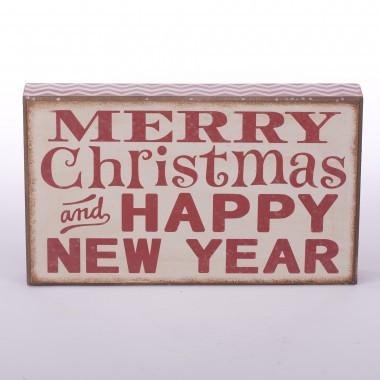 "Christmas Rectangle Wooden Frame Word Sign  ""Merry Christmas & Happy New Year"""