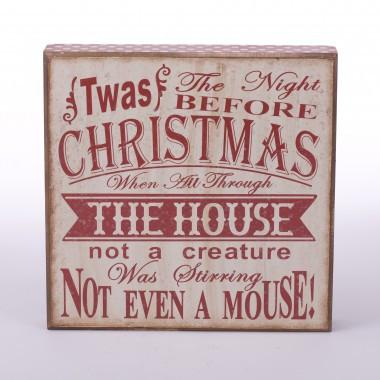 "Christmas Rectangle Wooden Frame Word Sign(11""*11""H)  ""The Night Before Christmas"""
