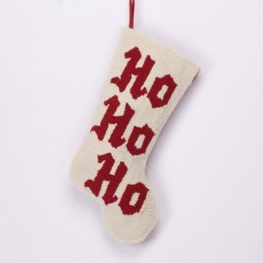 "Christmas Monogram Hooked Stocking  ""Ho Ho Ho"" 19.7""H"
