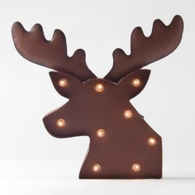 "Christmas LED Lighted Rusty Reindeer Head, 14.75""H"