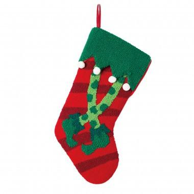 "Christmas Hooked Stocking  Elf Legs 19.7""H"