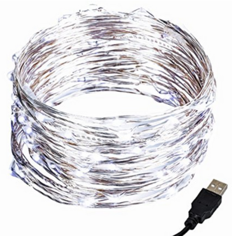 ESE 33ft 100 LEDs FairyWire String Lights, USB Plug In  (Warm white, Cool white,Green)