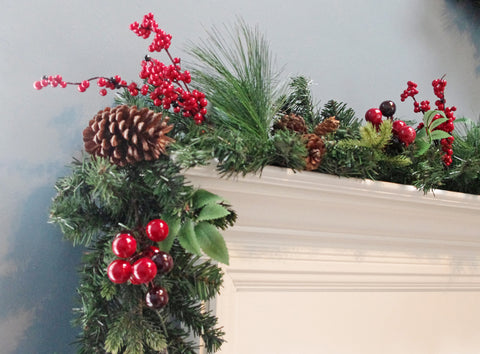 6' Berry pinecone Christmas Garland