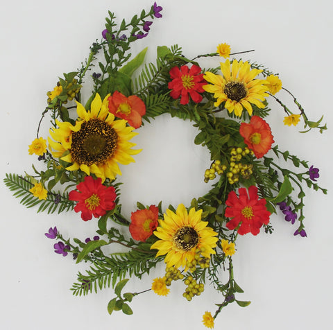 MIXED WILDFLOWER & SUNFLOWER Candle Ring, Small Wreath 16""