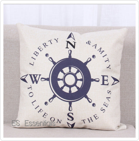 "Cotton Linen Pillow case 18"" Square Throw Cover,Nautical Compass"