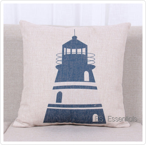 "Cotton Linen Pillow case 18"" Square Throw Cover,Nautical Light house"