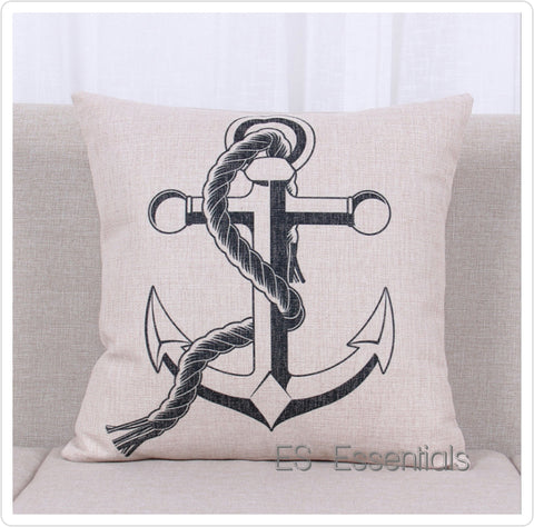 "Cotton Linen Pillow case 18"" Square Throw Cover, Nautical Anchor"